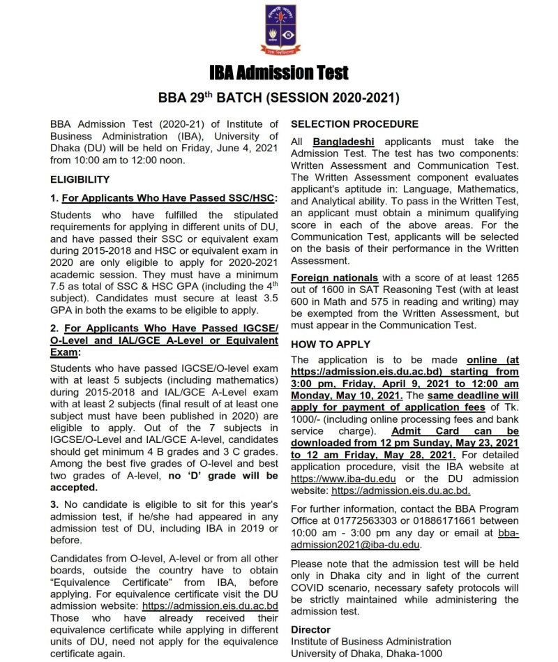 Dhaka University IBA BBA Admission Circular 2020-21
