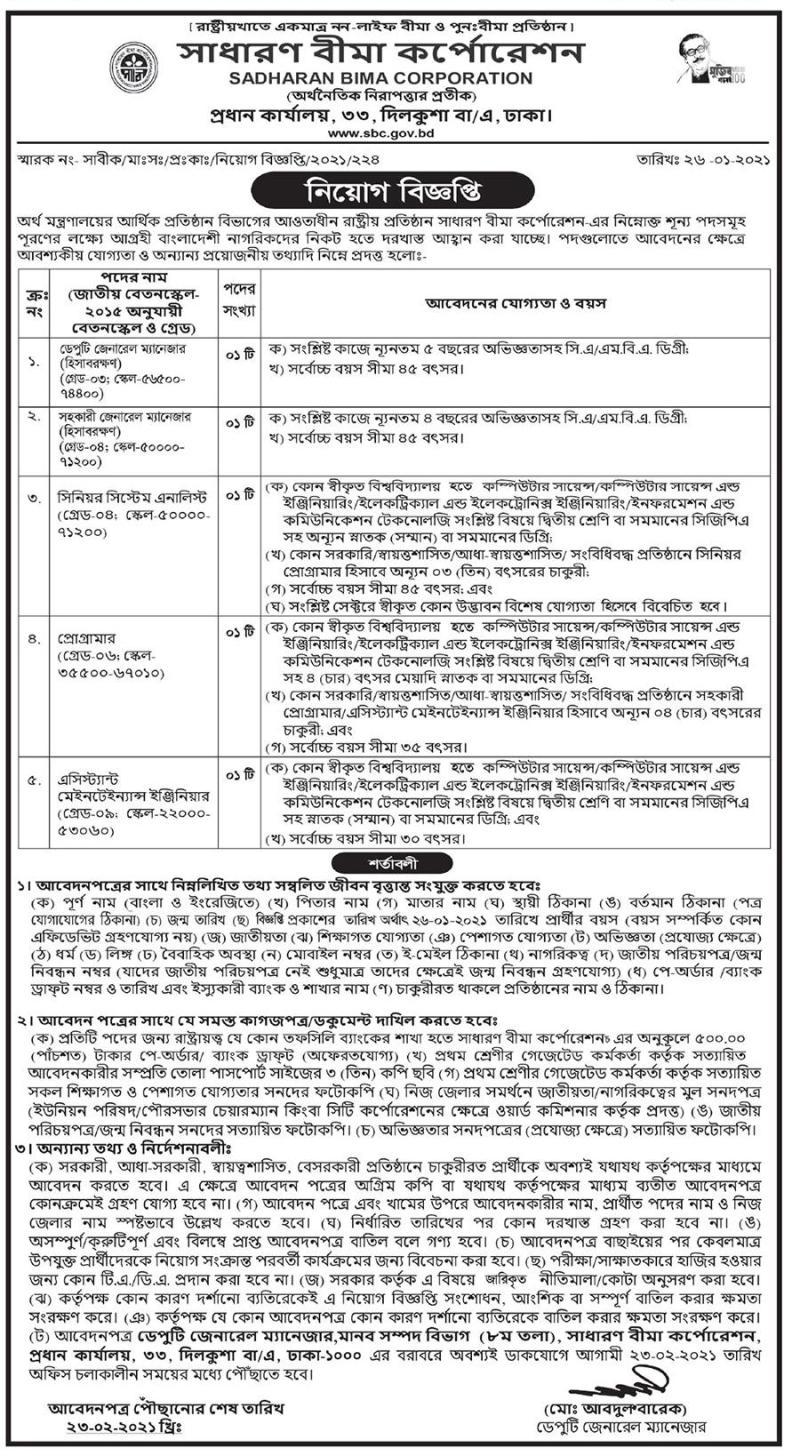 Sadharan Bima Job Circular 2021