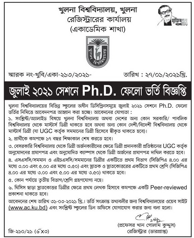 Khulna University P.hD Admission Circular 2021