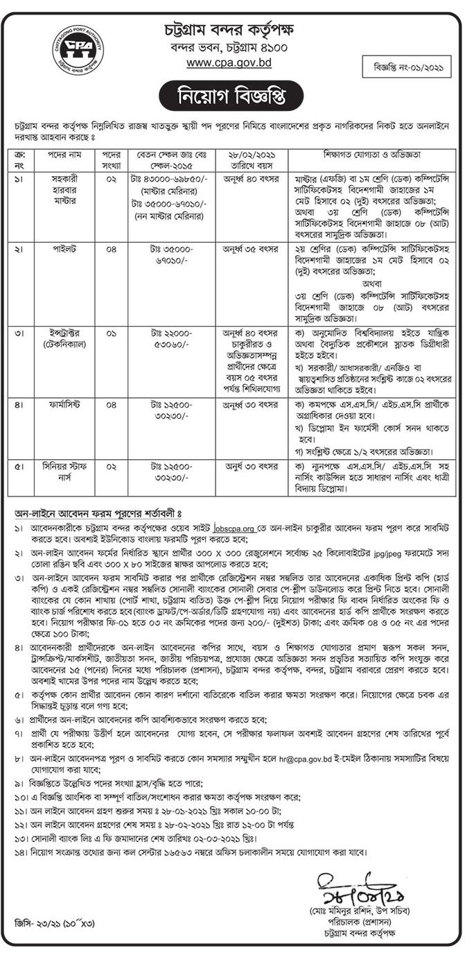 Chittagong Port Job Circular 2021