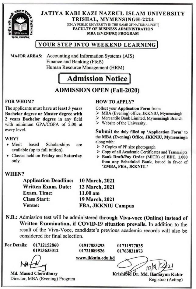 Jatiya Kabi Nazrul Islam University Evening MBA Admission Circular 2021