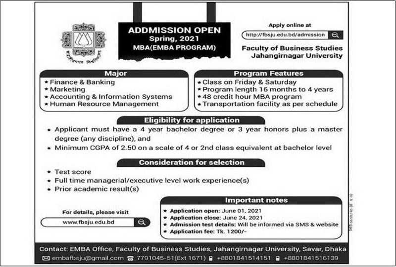 Jahangirnagar University MBA/EMBA Admission Circular 2021