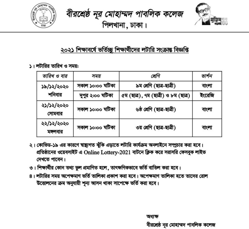 Noor Mohammaed Public College Admission Lottery Schedule 2021