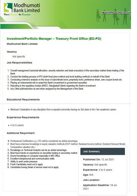 Modhumoti Bank EO-PO Job Circular 2021