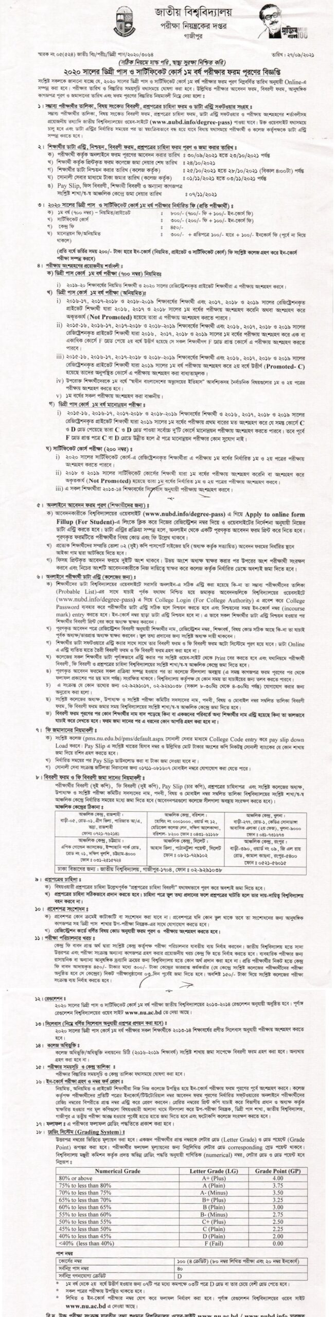 National University Degree 1st Year Exam Form Fill up 2021