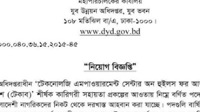Jubo unnayn jobs circular 2019