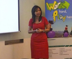 Jeannie Khoo, Marketing Director of Kelly Services Malaysia giving her presentation on employment outlook and salary for 2012/2013 during a media briefing in Kuala Lumpur
