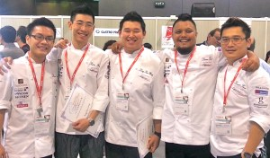 From left: Levin Tung, Fong Wei Loong, Ling Kar Weng, Chef Darren Teoh and Chef Kenneth Kam (School of Hospitality, Tourism and Culinary Arts).