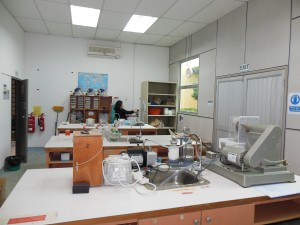Curtin Sarawak's Sedimentology Lab Area for Thin Section Preparation & Sieving