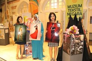 UCSI University Fashion with Marketing degree students, Sepideh Zandieh, Hannah Wanjuhi Waihumbu and Bishrel Byambajav with their collections.