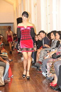 The model, showing off Bishrel Byambajav's winning collection at UCSI University's Fashion Showcase