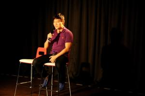 Ernest Seah sharing his experience with the Entertainment Arts students inside KDU's Black Box