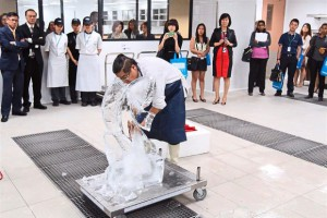University of Wollongong (UOW) Malaysia KDU School of Hospitality, Tourism and Culinary Arts lecturer and kitchen artist Chef Hamirudin Nazir shows off his ice-carving skills at the new lab.