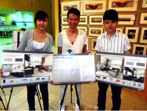 Malaysian Institute of Art (MIA) First prize winners, Low Poh Shi (left), Teng Chee Hong (left) and their lecturer, Mr. Daniel (middle), posing with their winning entry for the Creative Home Interior Design Competition 2010