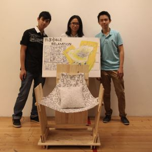 """UCSI University's award winning innovative chair design was themed """"Flexible Relaxation"""" and utilised old planks and discarded fabrics to ensure it was eco-friendly."""
