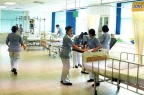 Nursing students having their practical in the lab at UOWM KDU Penang