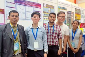 We won!: (second from left to right) UCSI University chemical engineering students Jing Ren, Selvaraja, Chun Man and Shapnathayammal with their lecturer Mubarak Mujawar (left) at the event.