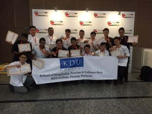 The victorious KDU College Penang team with their medals and diplomas at the 6th Vietnam Culinary Challenge 2015