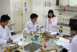 Experienced A-Level lecturers use creative teaching methods in the top of the line Chemistry Lab at HELP Academy to produce top scoring students
