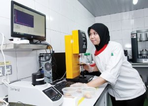 A Taylor's University Culinology student running a scientific test on the cookies