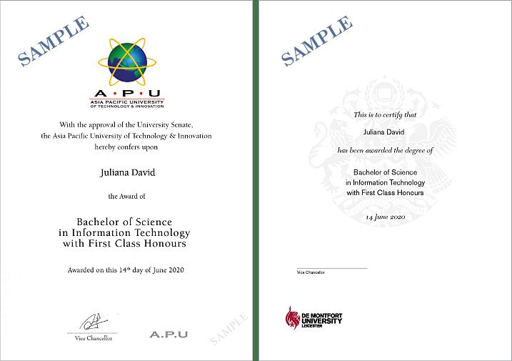 APU-DMU Dual Degree Programme -Sample Certificate