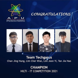 Malaysia's Asia Pacific University (APU) Team Techgasus Emerges as World Champions in the Hilti Global IT Competition 2021