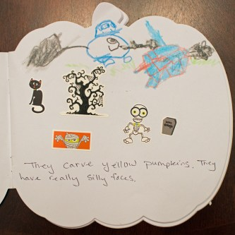 Example: Child created illustrations and dictated the story to an adult.