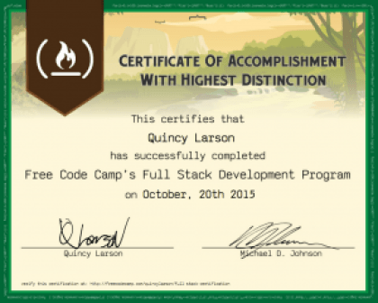 freecodecamp sample certificate