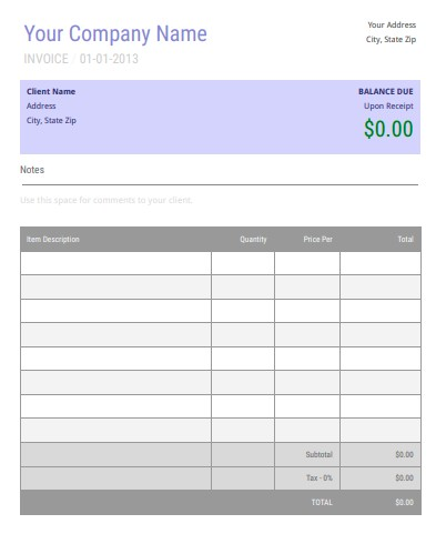 Blank Invoice Template Google Docs Editable