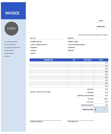 Left Logo Sidebar Blue Invoice Template Google Docs and Sheet