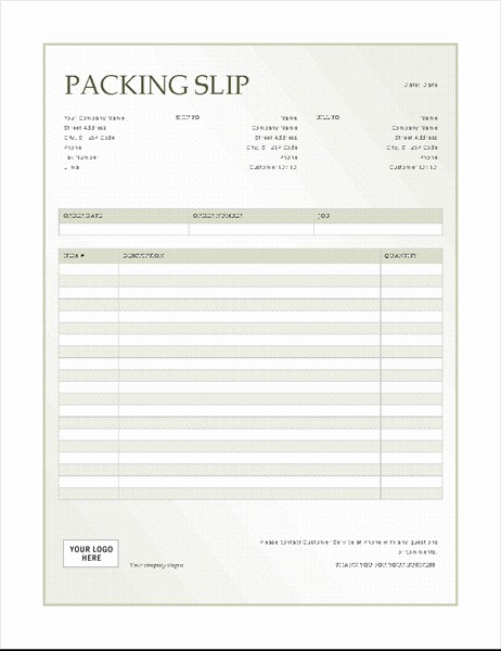 Packing Slip Colorful Table