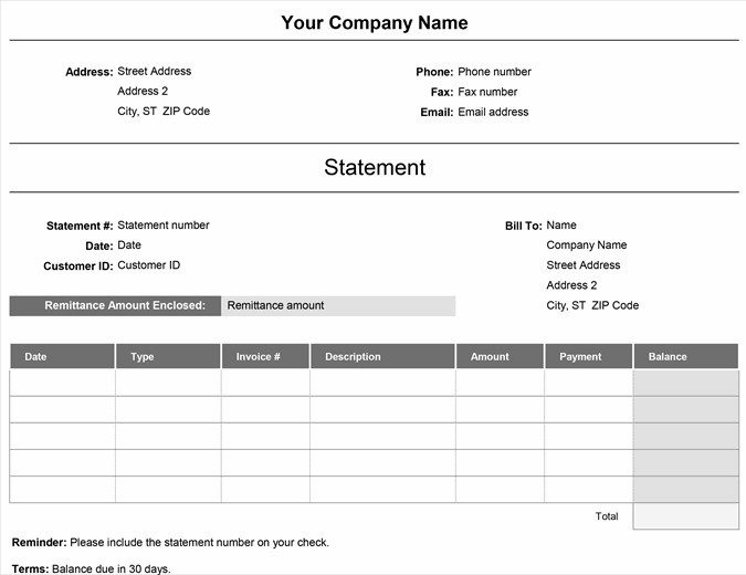 Remittance Invoice Template Excel