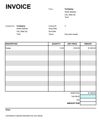 Simple but Professional Google Sheet Invoice Template