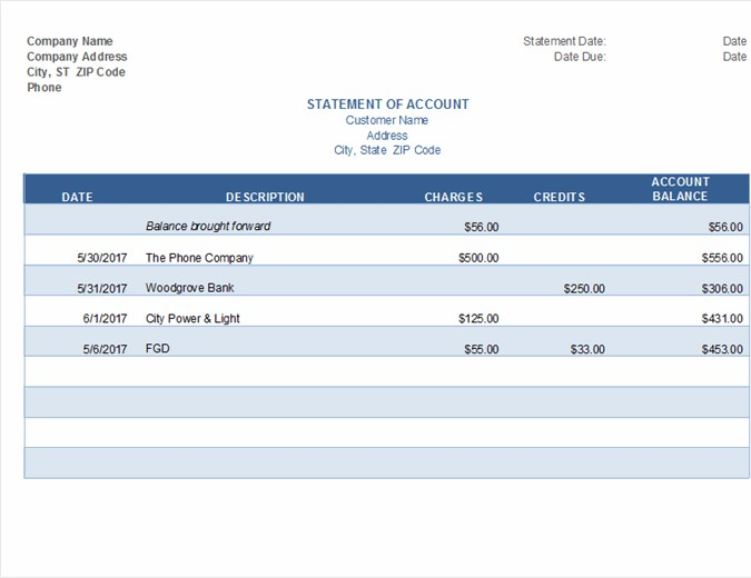 Statement Account Invoice Template Excel