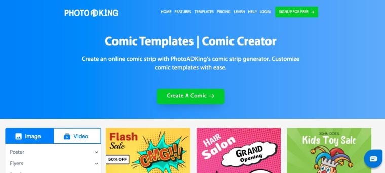 Comic creator and templates using fotoadking