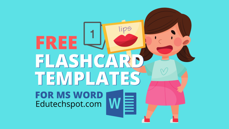 free flashcard template for word
