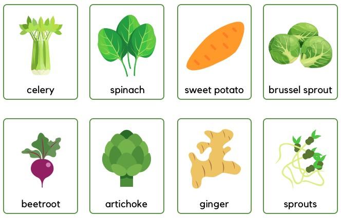 vegetables flashcards for preschoolers