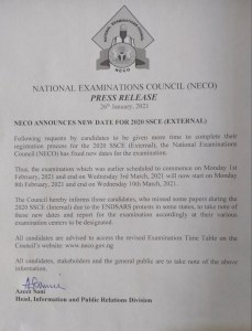 NECO Has released new DATE FOR PRACTICAL CHEMISTRY AND COMMERCE