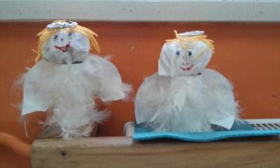 Aniołki z białych piórek Dzień Anioła Monika Okoń Prace plastyczne