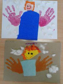 Aniołki z odbitych rączek Dzień Anioła Kreatywnie z dzieckiem Marlena Wrońska Postacie Prace plastyczne (Boże Narodzenie) Święta