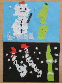 Bałwanek - wydzieranka Marlena Wrońska Prace plastyczne Prace plastyczne (Boże Narodzenie) Święta Zima (Prace plastyczne)