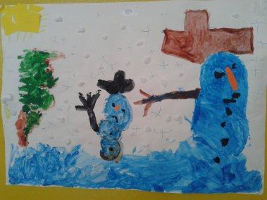 Bałwanki - praca zbiorowa Marlena Wrońska Prace plastyczne Prace plastyczne (Boże Narodzenie) Święta Zima (Prace plastyczne)