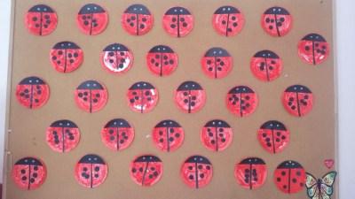 Biedronka z papierowych talerzyków Dominika Kobylak Prace plastyczne Wiosna (Prace plastyczne) Zwierzęta (Prace plastyczne)