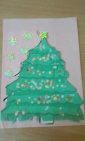Choinki z zielonej bibuły Monika Okoń Prace plastyczne Prace plastyczne (Boże Narodzenie) Święta Zima (Prace plastyczne)