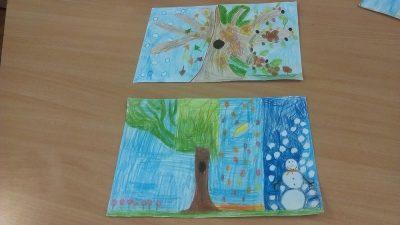 Cztery pory roku - kredką malowane Dzień Drzewa Dzień Ochrony Środowiska Dzień Wiatru Dzień Ziemi Izabela Kowalska Jesień Kreatywnie z dzieckiem Lato Wiosna Zima