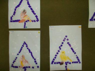 Dokarmiamy ptaki zimą Joanna Chorabik Międzynarodowy Dzień Ptaków Prace plastyczne Zima (Prace plastyczne)