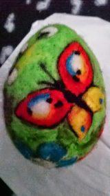 Jajko z wełny - styropianowe Dominika Kobylak Prace plastyczne Prace plastyczne (Wielkanoc) Wielkanoc (Prace plastyczne)