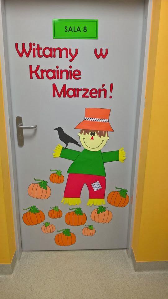Jesienna dekoracja drzwi Emilia Lalak Jesień Jesień Kreatywnie z dzieckiem Prace plastyczne