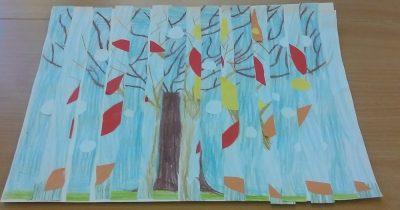 Jesienno - zimowe drzewa - mozaika Dzień Drzewa Dzień Lasu Dzień Leśnika Izabela Kowalska Jesień Jesień Kreatywnie z dzieckiem Prace plastyczne (Jesień) Zima