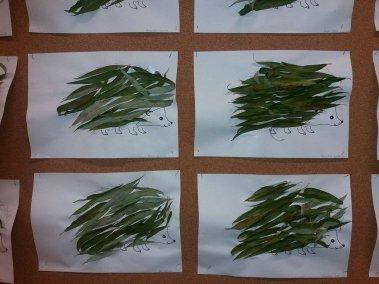Jeże z liści Dzień Jeża Jesień Joanna Lewandowska Kreatywnie z dzieckiem Prace plastyczne Światowy Dzień Zwierząt